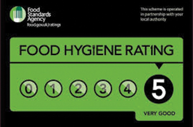 Food hygiene 5 star rating award